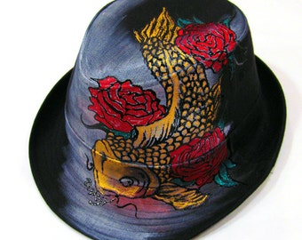 One of Kind Handpainted Japanese Koi Fish with Rose Unisex Cotton Canvas Fedora