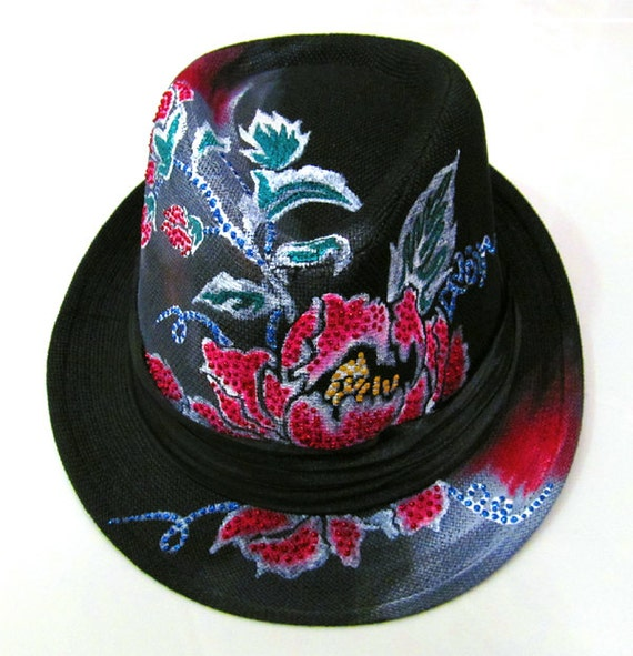 One of Kind Fedora Handpainted Red Lotus Unisex Hat