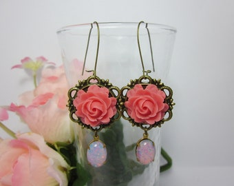 Pink rose with opal glass jewel Earrings. Gift for her. Anniversary, Birthday, Christmas. Bridal Jewelry.