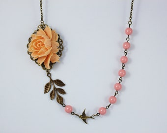 Peach Rose Necklace. Gift for her. Anniversary, Birthday, Bridesmaids, Christmas, Maid of Honor.
