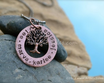 Family Tree Custom Stamped Necklace