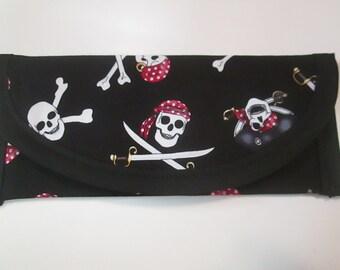 Pirates Sculls and Bones Swords bandana Fabric, Wallet, Clutch, Envelope, Money 7x3 or 6x3 polka dot red