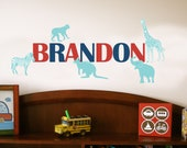 Kids Wall Decal, Zoo Animals, SMALL, Baby Room Sticker, Play Room Decals, Monkey, Elephant, Safari Theme