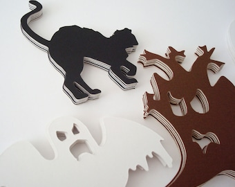 Halloween 25 Pieces Scrapbooking Crafts, Cards Cutouts Recycled Mat Board