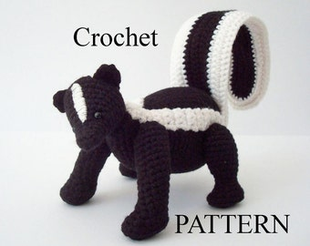 Striped Skunk Crochet Pattern Amigurumi Skunk Woodland Animal Digital Download Crochet Pattern Adobe Pdf File
