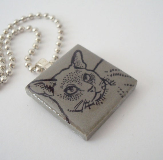 Tonkinese Cat Necklace Recycled Rubber Stamped Ceramic Tile Pendant Gray