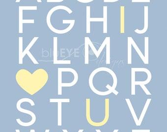 Alphabet I love you Print