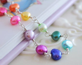 Rainbow Child Bracelet Genuine Freshwater Pearl Girls Children Fun Bright Wire Wrapped Sterling Silver Jewelry