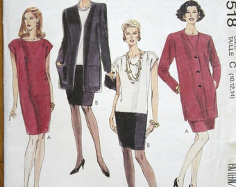 McCalls 5518 Easy Misses' Unlined Jacket and Dress Vintage Sewing Pattern