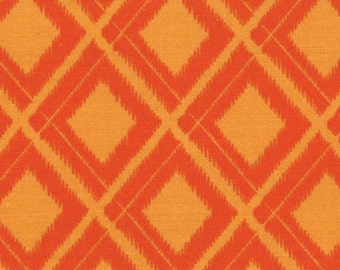 "Simply Color - Ikat Diamonds in Sweet Tangerine by V & Co for Moda Fabrics - 35"" Remnant"