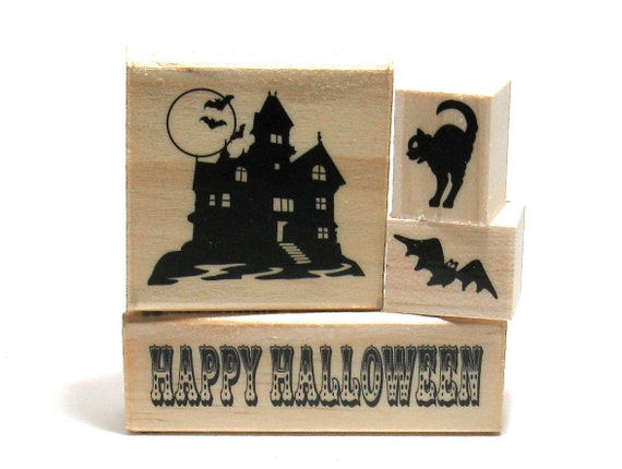 Halloween Stamps - Haunted House Cat Bat (Set of 4)