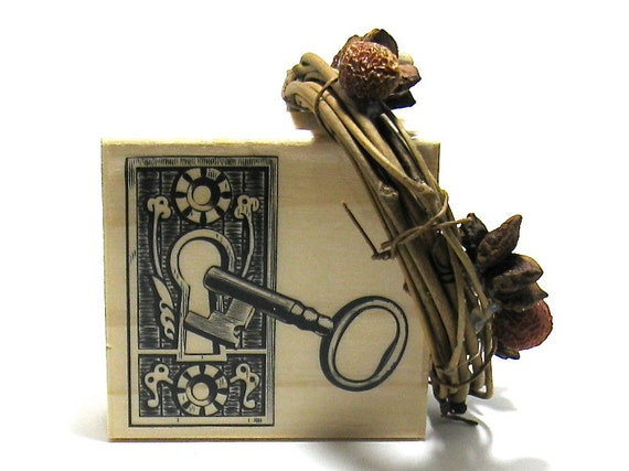 Vintage Lock, Key and Tea Pot Stamps (Set of 2)