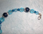 Dark and Light Blue with Silver Bracelet