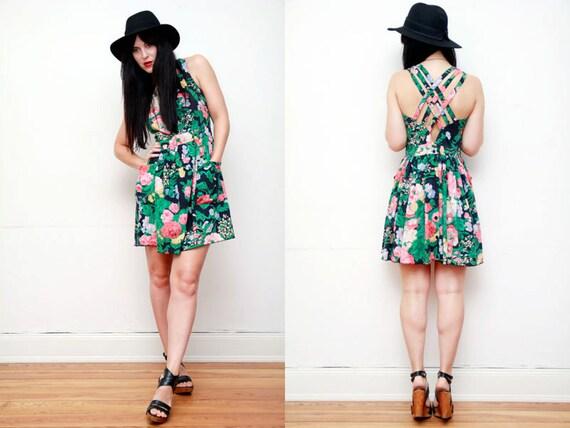 20% OFF Vintage Floral Cage Strap Grunge Mini Dress 90's