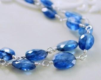 Wire Wrap Bracelet, Double Strand, Bright Dazzling Royal Blue Kyanite Gemstone, Genuine Stone, Sterling Silver Jewelry, Free Shipping