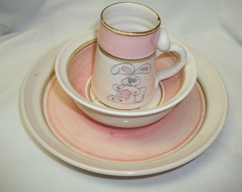 Vintage Handmade Pottery Feeding Set for Baby 1979 Cute Bunny New Baby Gift