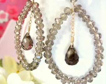 Smokey Quartz Tear Drop Hoop Earrings - Coachella Brown Crystal Hoop Chandelier Earrings - Boho Chic Brown Gold Hoop Tear Drop Earrings