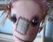 Halloween primitive art doll handmade pink scarecrow autumn decoration unique home decor
