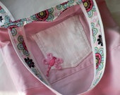 Pink Denim Tote Bag with pocket, reversible with dragonfly