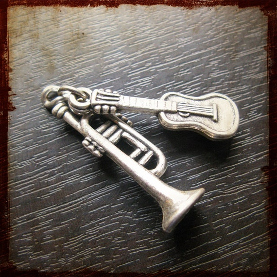 Antique French Miniature Music instrument guitar and trumpet Medal Pendant - Vintage Jewelry charm from France