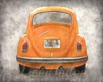 VW Beetle Backside - Orange - Vintage Style Original Photograph