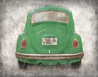 VW Beetle Backside - Green (or CHOOSE your color) - Vintage Style Original Photograph Print