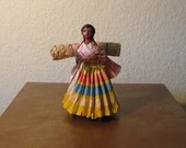 Vintage 50s 60s Mexican Woman. Paper Mache Folk Art Doll.