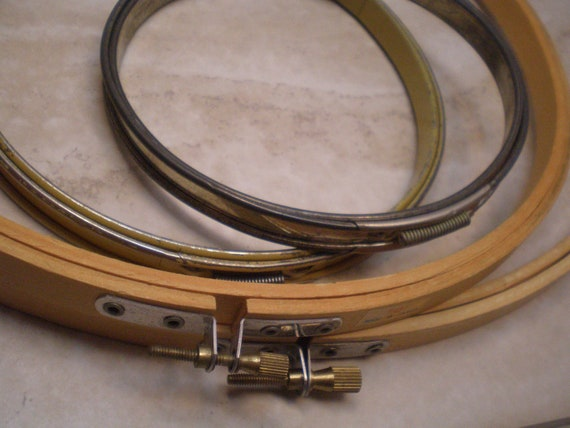 4 Vintage Embroidery Hoops, Two Metal, Two Wooden, Various Styles and Eras