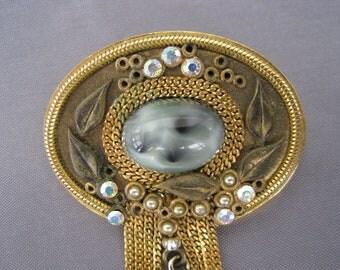 Vintage Marena 18K Gold Plate Blue Art Glass Brooch