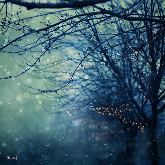 """Snow Photography - Abstract Holiday Lights - Dreamy and Vintage Inspired - Home Decor - Fine Art Photography - """"Silent Night"""""""