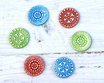 Tribal Geometric Magnets Native design magnets set of 3 in a tin bright colours
