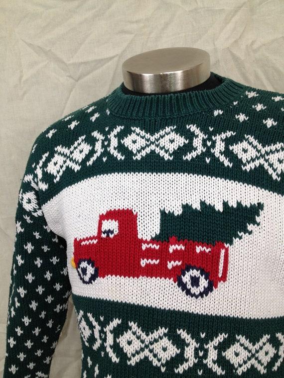Vintage Gap Ugly Christmas Sweater 1980s Snowflake Truck Tree