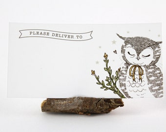 10 Mailing Labels - Owl & Yellow Bow