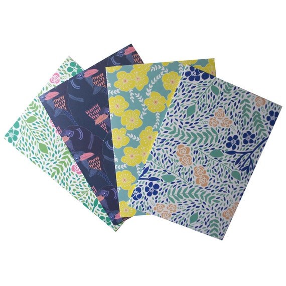 Pack of Four Mixed Pattern Greeting Cards Free Shipping