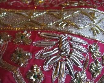 WEDDING Pure SILK Rajasthani ZARDORI Hand Embrodiered Incredible Scarf Shawl Metallic Threads