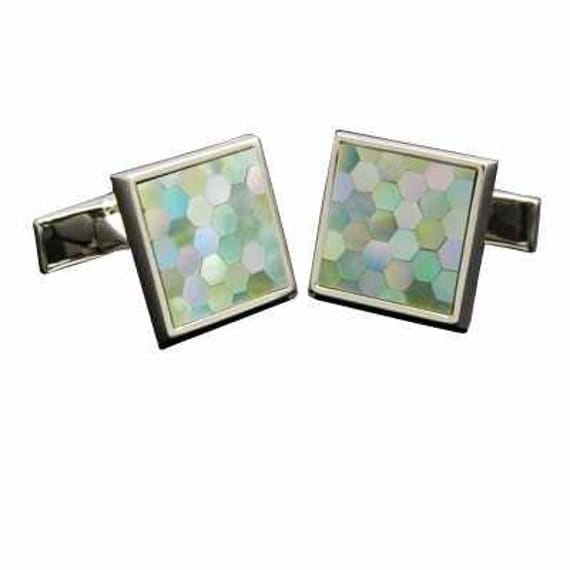 Green Hexagon mosaic shell cuff (cuff button cuff links).