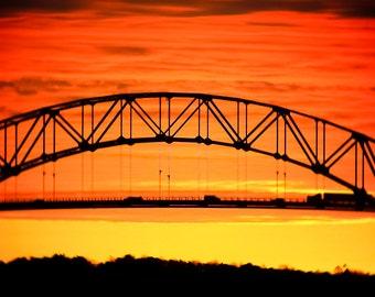 SUNRISE Photography, CAPE COD Canal, Sagamore Bridge, Bridge Photography, Cottage Decor, Orange Yellow Vivid colors,