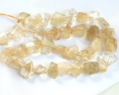 Citrin Faceted, flat   nugget beads (8-15mm), citrin freeform beads, full strands