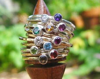 CHOOSE 1 Gemstone Stacking Ring Sterling Silver & Gold Fill 24 Stones to Choose From