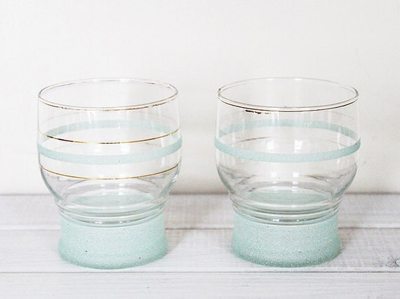 Vintage Glasses Glass Tumblers Pair Green Gold Band Frosted