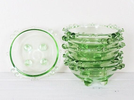 Vintage Green Glass Bowls Serving Salad Fruit Desert Uranium Depression Vaseline 6