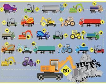 Printable Reward Chart for Kids - Dig This: Trucks and Rocks