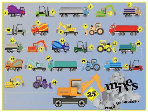 Printable Reward Chart for Kids - Dig This: Trucks and Rocks