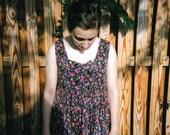 Vintage Floral Grunge Dress Flowy with Rough Hem