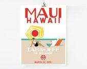 Vintage Travel Poster / Wedding Guest Book Print