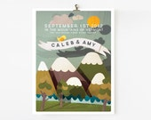 8x10 mountain wedding poster/ anniversary or wedding gift