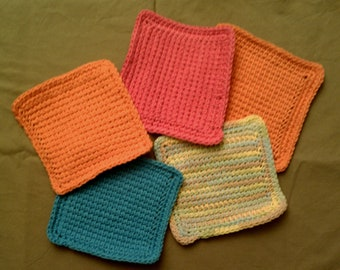 Cotton Washcloth or Dishcloth -Tunisian Stitch in your choice of Hot Pink, Tangerine, Denim, Orange and more