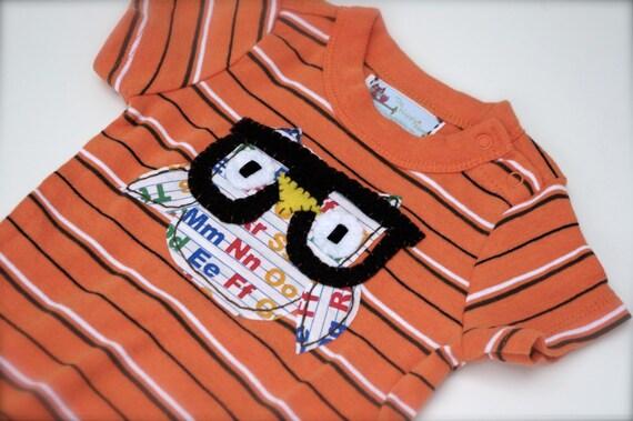 Baby Geek Owl Onesie, Orange 6 to 12 months