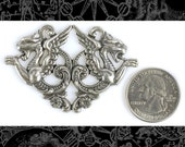 Silver Plated Brass Vintage Double Winged Griffin Pendant, One  S-P40