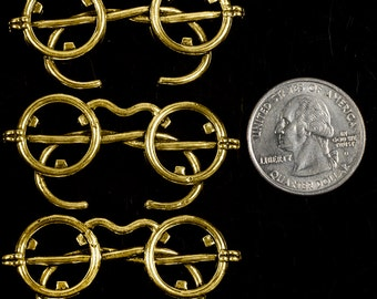 Antique Gold Steampunk Spectacle Wire Rimmed Glasses Pendants, Set of Three * ZB-P14